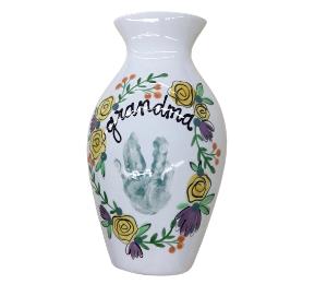 West Edmonton Mall Floral Handprint Vase